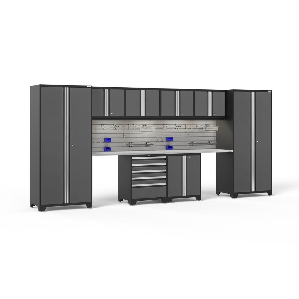 Pro Series 3.0 85.25 in. H x 184 in. W x 24 in. D 18-Gauge Steel Cabinet Set in Gray (10-Piece)