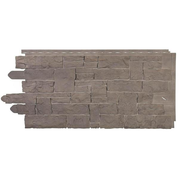 Stacked Stone 45 in. x 20-1/4 in. Polymer Smoke Gray Vinyl Siding (10-Pack)