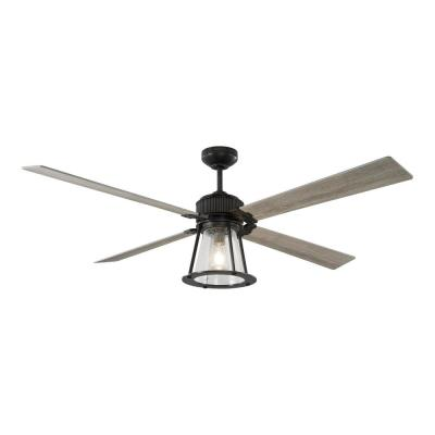 Rockland 60 in. Indoor/Outdoor Aged Pewter Ceiling Fan with Light Kit Light, Grey Weathered Oak Blades and Remote