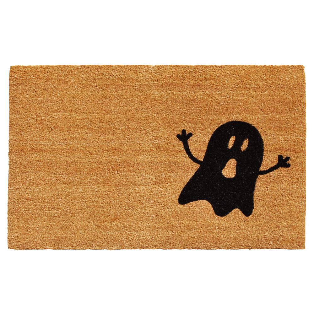 Natural/Black Ghost 17 in. x 29 in. Coir Door Mat