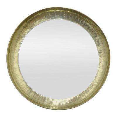 24 in. Metal Wall Mirror in Gold