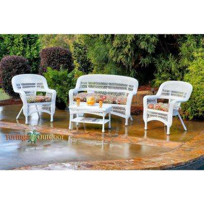 Portside White 4-Piece Wicker Patio Seating Set with Zoe Citrus Cushions