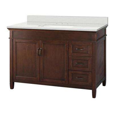 Ashburn 49 in. W x 22 in. D Vanity Cabinet in Mahogany with Engineered Marble Vanity Top in Snowstorm with White Basin