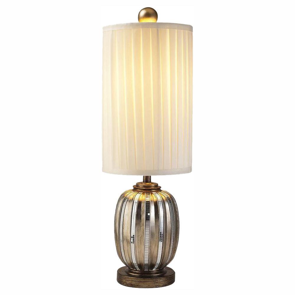 ORE International 32.25 in. Silver Metallic Tiles Table Lamp