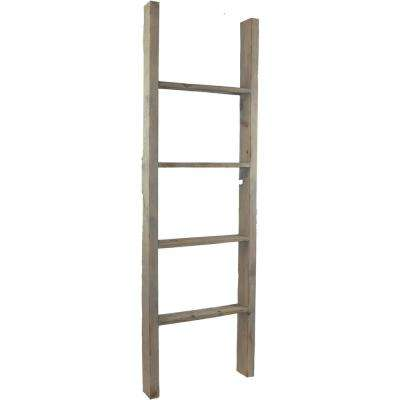 15 in. x 72 in. x 3 1/2 in. Barnwood Decor Collection Salvage Red Vintage Farmhouse 5-Rung Ladder