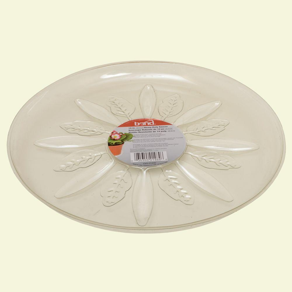 Bond Manufacturing 14 in. Heavy Duty Clear Plastic Saucer