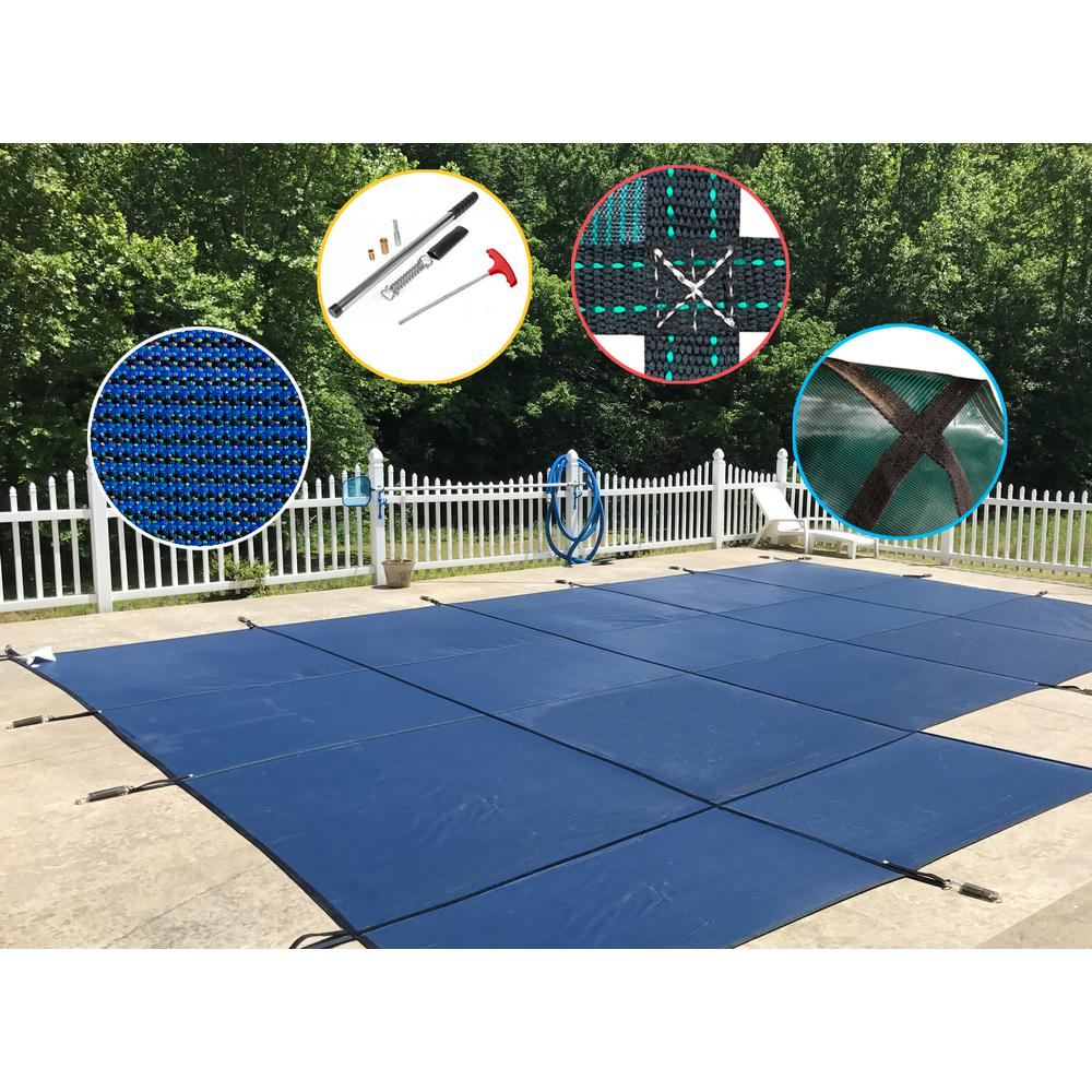 Water Warden 20 ft. x 40 ft. Rectangle Blue Mesh In-Ground Safety Pool Cover for Left End Step