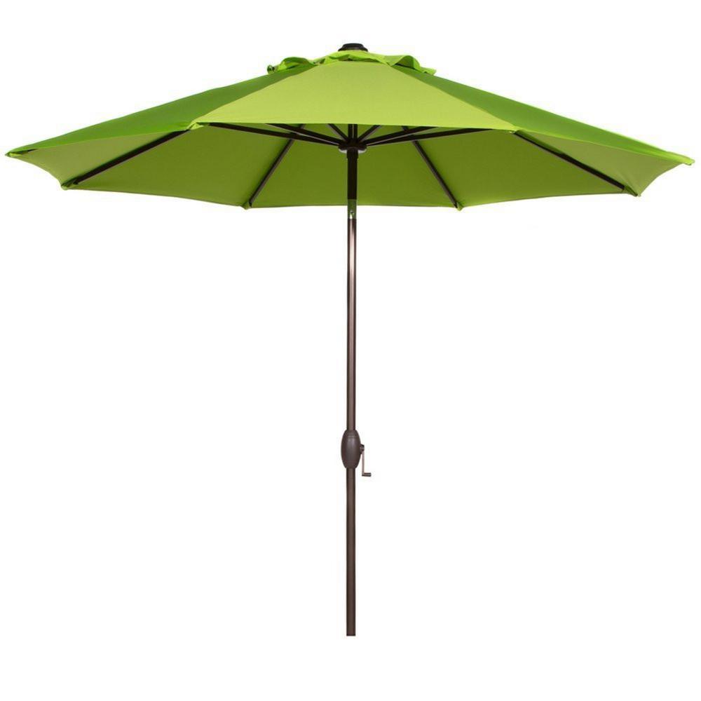 9 ft. Aluminum Market Auto Tilt Patio Umbrella in Sunbrella Canvas Macaw