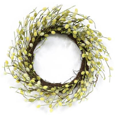22 in. Wreath with Pussy Willow