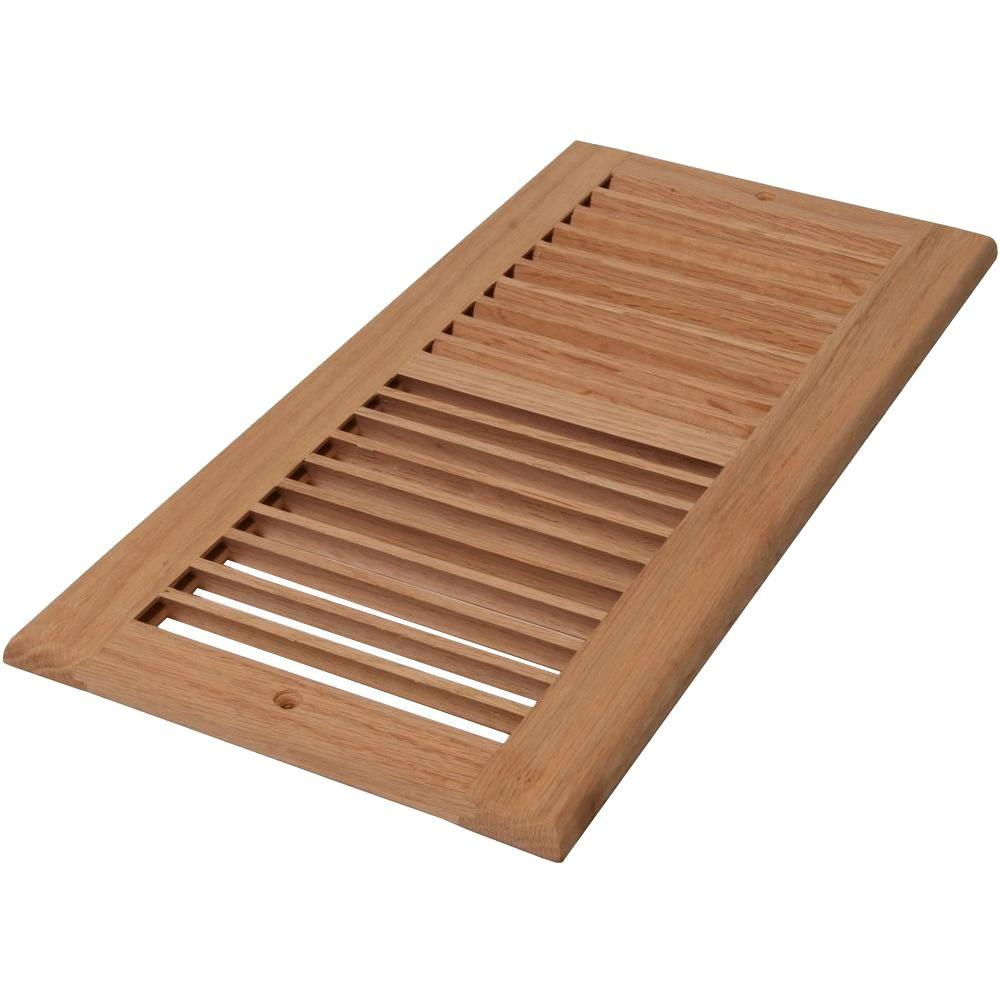 6 in. x 10 in. Unfinished Oak Louvered Cold Air Return