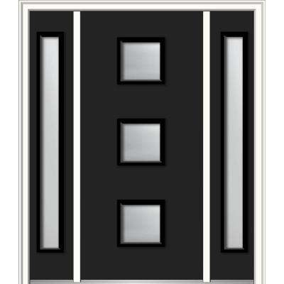 64 in. x 80 in. Aveline Right-Hand Inswing 3-Lite Frosted Modern Painted Steel Prehung Front Door with Sidelites