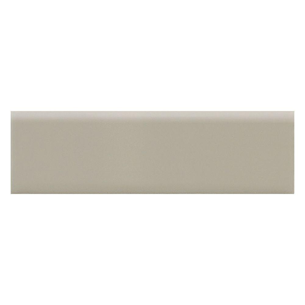 Daltile Modern Dimensions Architectural Gray 2-1/8 in. x 8-1/2 in. Ceramic Surface Bullnose Wall Tile-DISCONTINUED