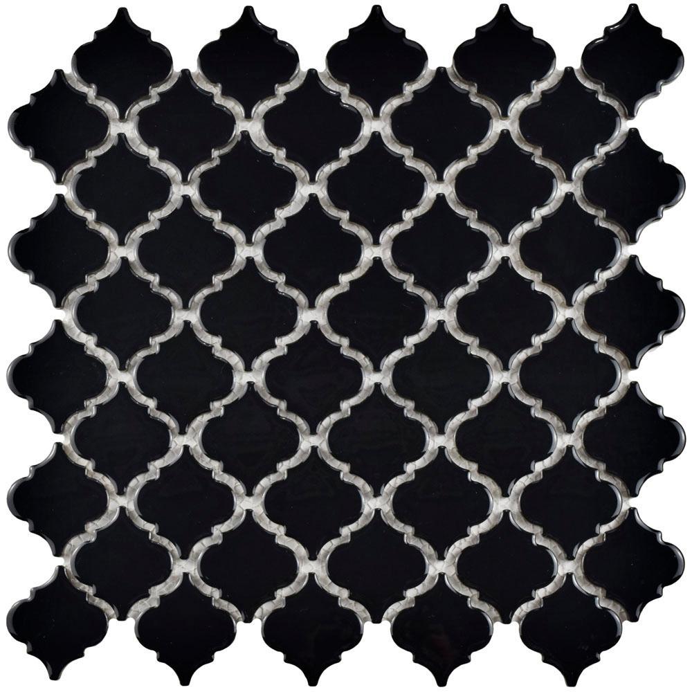 Hudson Tangier Glossy Black 12-3/8 in. x 12-1/2 in. x 5
