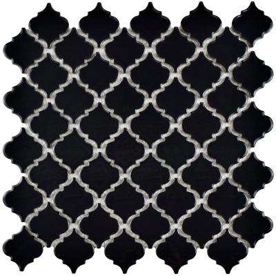 Hudson Tangier Glossy Black 12-3/8 in. x 12-1/2 in. x 5 mm Porcelain Mosaic Tile