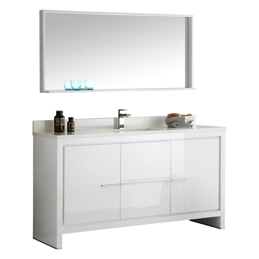W Vanity In White With Ceramic Top Basin And Mirror