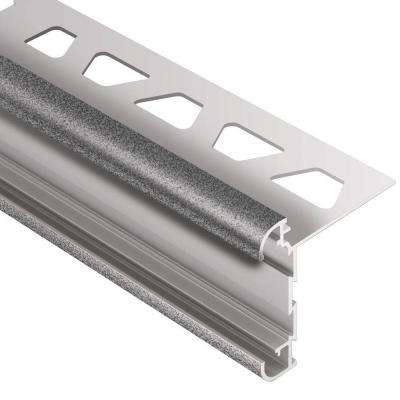 Rondec-CT Pewter Textured Color-Coated Aluminum 1/2 in. x 8 ft. 2-1/2 in. Metal Double-Rail Bullnose Tile Edging Trim
