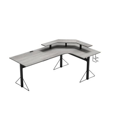 78 in. L-Shaped Gray/Black Computer Gaming Desk with Shelf