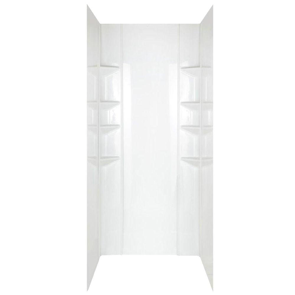 null Easy Wall 37 in. x 43 in. x 72.75 in. Five Piece Glue-up Shower Wall in White