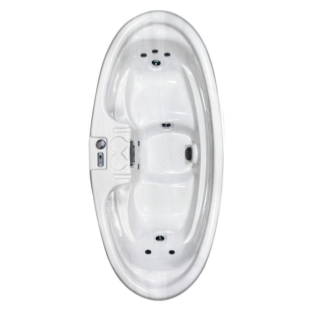 QCA Spas Capri Plug and Play 2-Person 8-Jet Spa with 1 HP Pump in Silver Marble