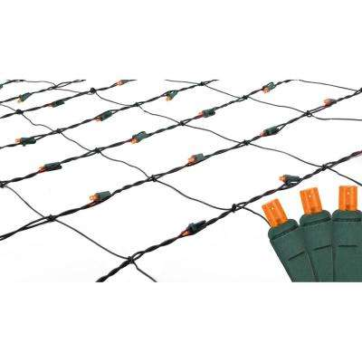 4 ft. x 6 ft. Orange LED Net Style Christmas Lights with Green Wire