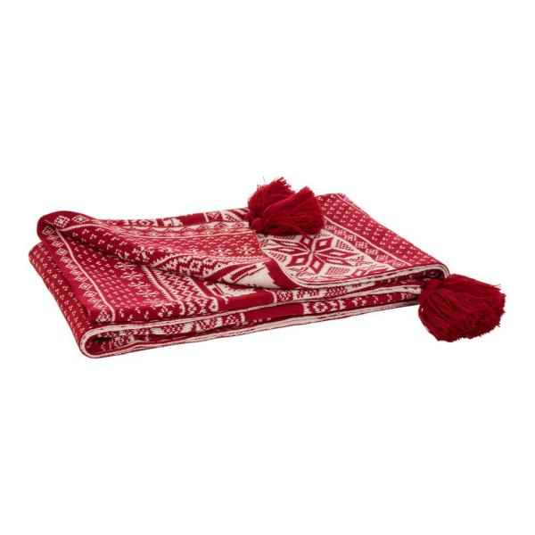 60 in. H Knitted Christmas Throw Blanket With Tassels in Red and White Snowflake