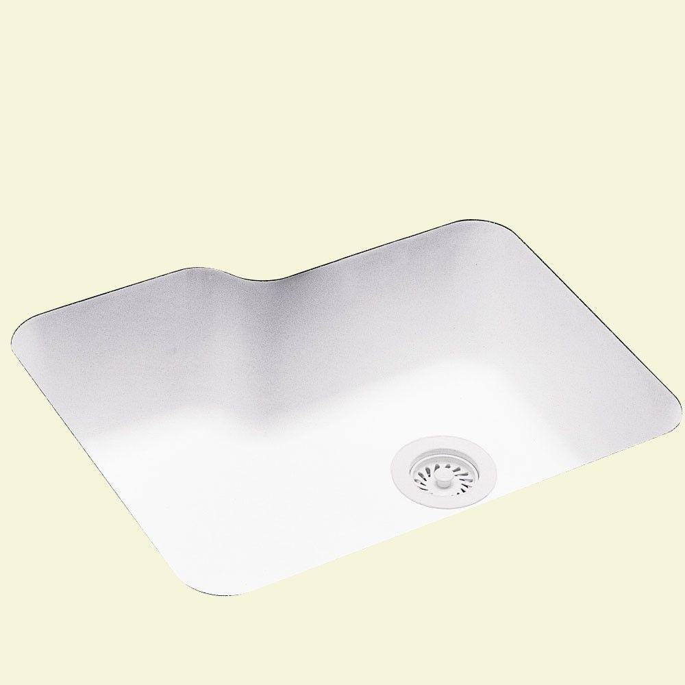Swanstone Undermount Solid Surface 25 in. 0-Hole Single Bowl Kitchen Sink in White