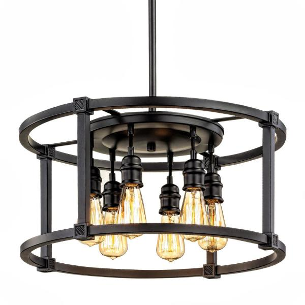 Home Decorators Collection Romaro Row 6-Light Aged Bronze Dinette Chandelier
