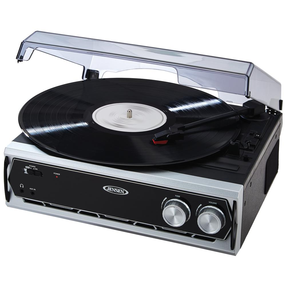 3-Speed Stereo Turntable The JENSEN 3-Speed Stereo Turntable is your ultimate music-playing device. From vinyl to MP3, play a variety of types of music with this single player. Plus, convert vinyl to digital formats.