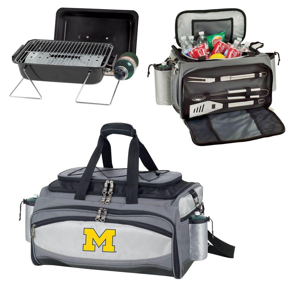 Picnic Time Michigan Wolverines - Vulcan Portable Propane Grill and Cooler Tote by Digital Logo, Black/Gray