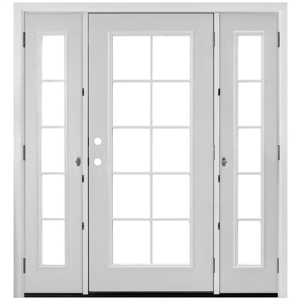 Masonite 72 In X 80 Primed White Steel Prehung Left Hand Inswing 10 Lite Clear Gl Patio Door Brickmold Venting Sidelites 521267 The Home Depot