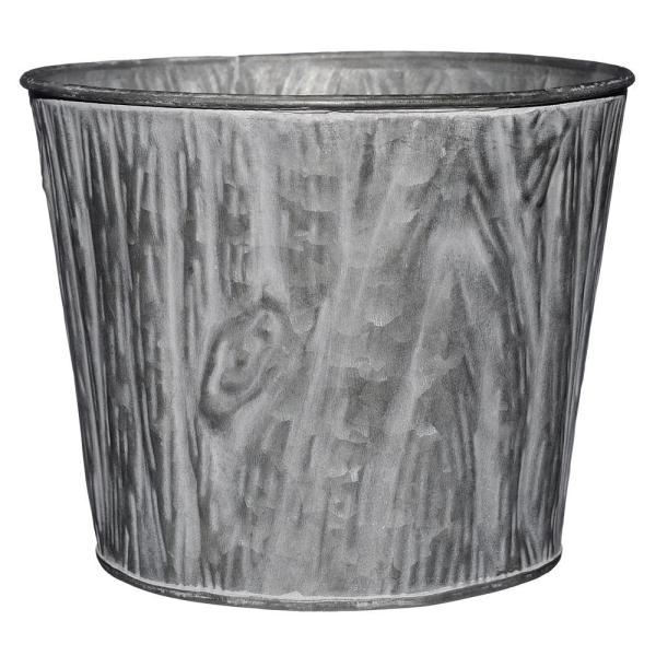 7 in. Galvanized with Whitewash Faux Wood Grain Tin Planter