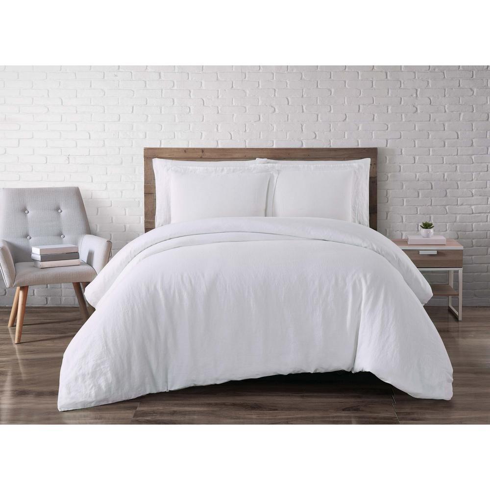 Brooklyn Loom Linen White King Duvet Set