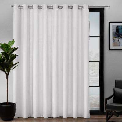 Loha Patio 108 in. W x 84 in. L Linen Blend Grommet Top Curtain Panel in Winter White (1 Panel)