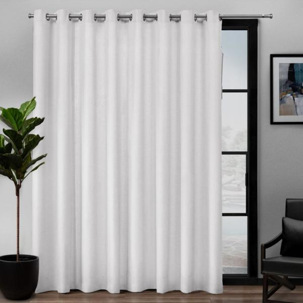 Exclusive Home Curtains Loha Patio 108 In W X 84 In L Linen Blend Grommet Top Curtain Panel In Winter White 1 Panel Eh8307 01 1 84g The Home Depot