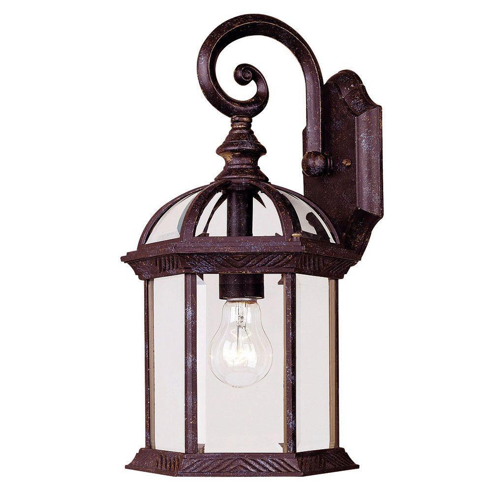 Large Rustic Finish Lantern Wall Mounted Light Sconce: Illumine 1-Light Wall Mount Lantern Rustic Bronze Finish