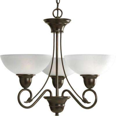 Pavilion Collection 3-Light Antique Bronze Chandelier with Shade