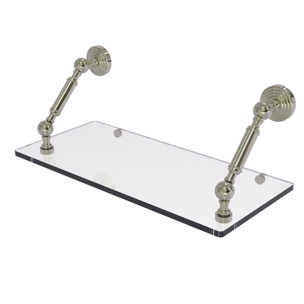 Allied Brass Waverly Place Collection 18 in. Floating Glass Shelf in Polished Nickel