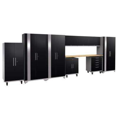 Performance Plus 2.0 80 in. H x 225 in. W x 24 in. D Steel Garage Cabinet Set in Black (10-Piece) with Bamboo Worktop