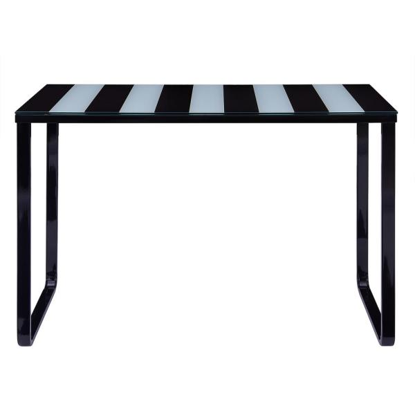 Southern Enterprises Cergio Black and White Contemporary Glass Top Console Table