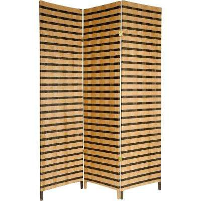6 ft. Brown 2-Tone Natural Fiber 3-Panel Room Divider