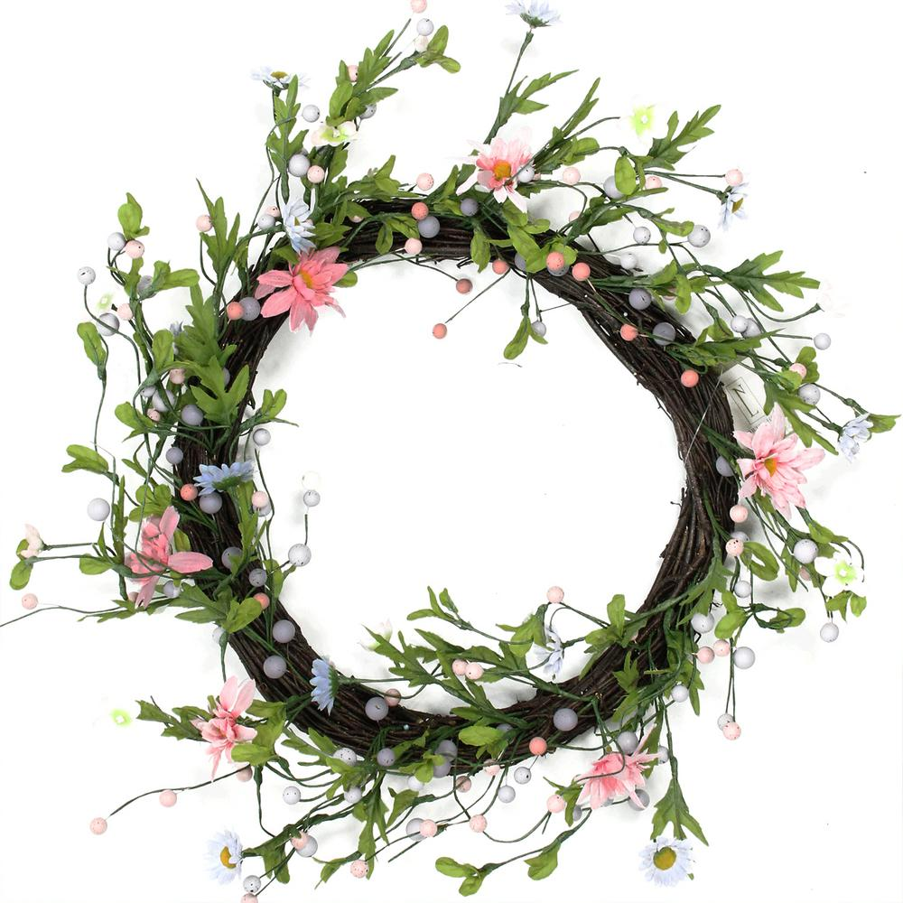 Northlight 15 in unlit green pink and purple decorative artificial unlit green pink and purple decorative artificial spring floral twig wreath mightylinksfo