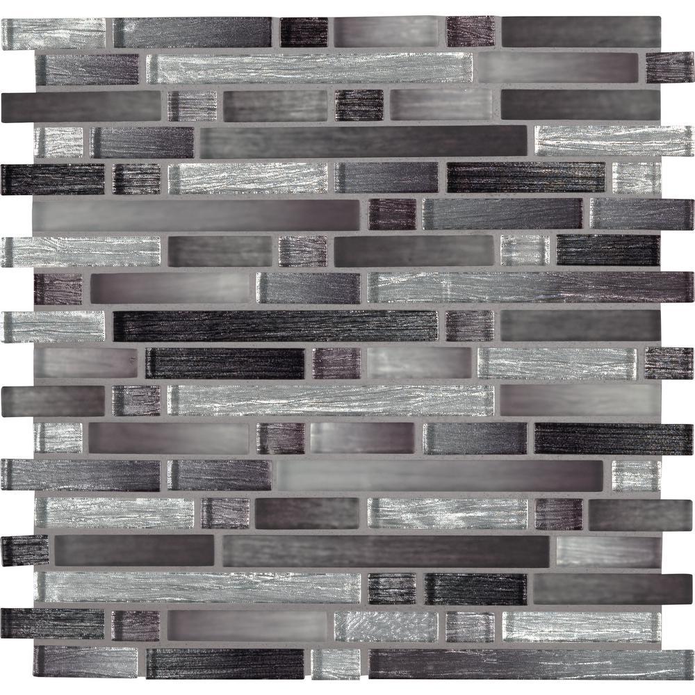 Akaya Nero Interlocking 12 in. x 11.75 in. x 8 mm Glass Mesh-Mounted Mosaic Tile (9.8 sq. ft. / case)
