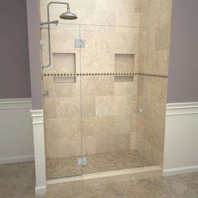 2000V Series 78 in. W x 76 in. H Semi-Frameless Pivot Shower Door with Fixed Panel in Brushed Nickel
