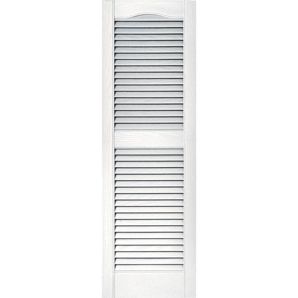 Mid america cathedral open window louvered vinyl exterior - Exterior louvered window shutters ...