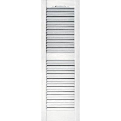 15 in. x 48 in. Louvered Vinyl Exterior Shutters Pair in #001 White