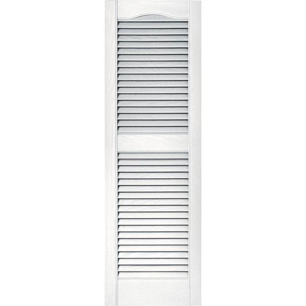Builders Edge 15 In X 48 In Louvered Vinyl Exterior Shutters Pair In 001 White 010140048001 The Home Depot