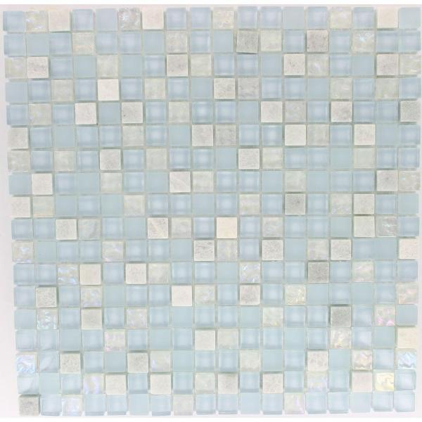 Mist Trail Blend 12 in. x 12 in. x 8 mm Marble and Glass Mosaic Floor and Wall Tile