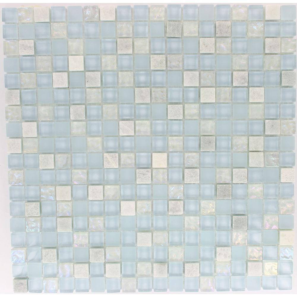 Splashback Tile Mist Trail Blend 12 in. x 12 in. x 8 mm Marble and ...