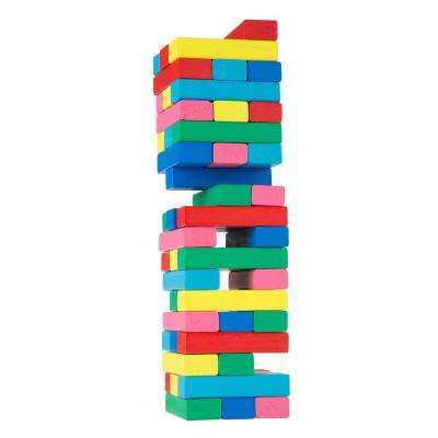 Classic Wooden Blocks Stacking Game with Colored Wood