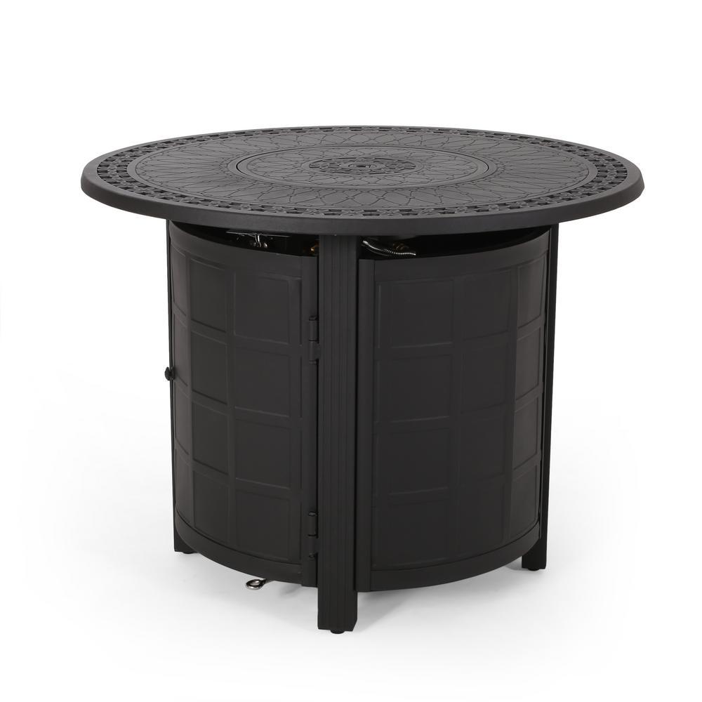 Miquel Matte Black Round Aluminum Fire Pit Table